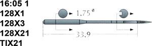16:05 1 128X1 Schmetz Needles
