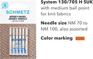 Schmetz Jersey or Ballpoint Needles