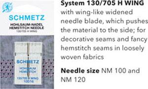 Schmetz Hemstitch or Wing Needles